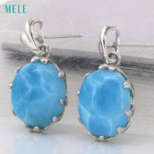 Natural Larimar Sterling Silver 925 Earrings - Inspired Zen, LLC