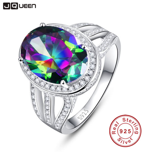 10.2ct Oval Rainbow Fire Mystic Topaz Cocktail Ring, 925 Sterling Silver - Inspired Zen, LLC