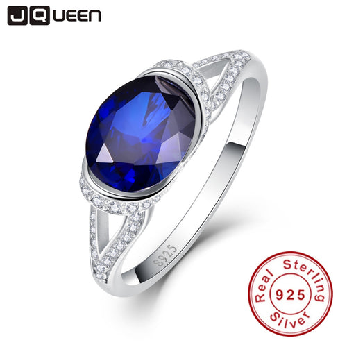 2ct Blue Sapphire Oval Ring, 925 Sterling Silver - Inspired Zen, LLC