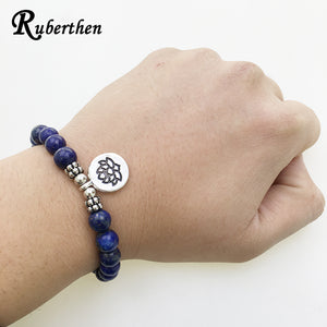 Lapis Lazuli Bracelet with Charm, several options available - Inspired Zen, LLC
