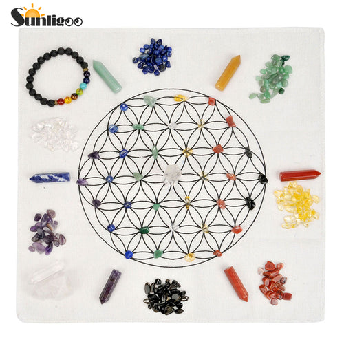 chakra crystal grid with stones and bracelet