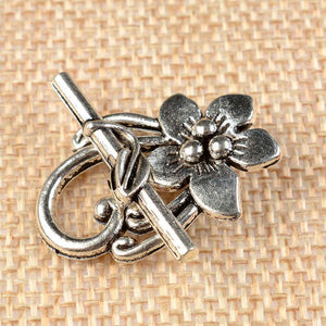 10 Sets Tibetan Antique Silver Flower Shape Toggle Clasps - Inspired Zen, LLC