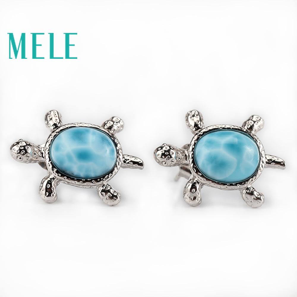 Multiple images of Larimar turtle earings