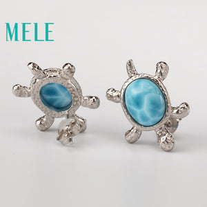 Tortoise Natural Larimar Earrings, Sterling Silver 925 - Inspired Zen, LLC