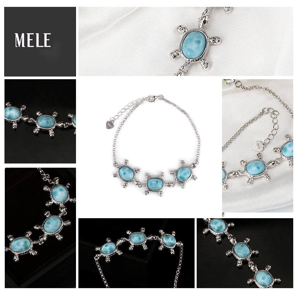 multiple images of Larimar turtle bracelet