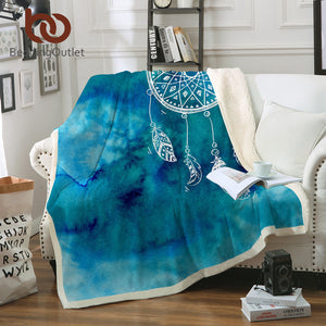 Sherpa Fleece Plush Dreamcatcher Throw Blanket, 2 colors and sizes - Inspired Zen, LLC