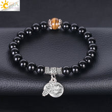 Natural Obsidian with Tiger Eye Charm Bracelet - Inspired Zen, LLC