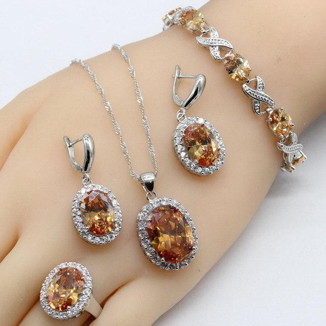 4 pc. Semi-Precious Jewelry Set, 925 Sterling Silver
