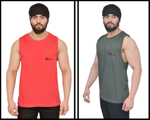 Cutoff Combo Pack Of 2 <br> ( Rising Red & Military Green )