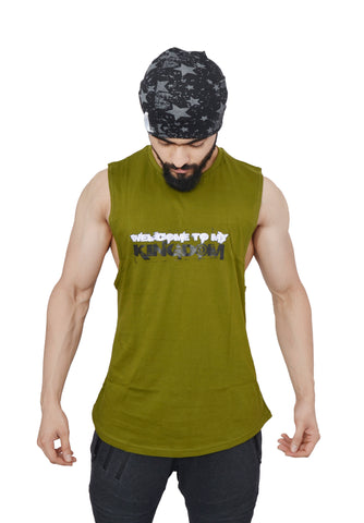Street Olive Arckon Drop Armhole Welcome To My Kingdom Cutoff