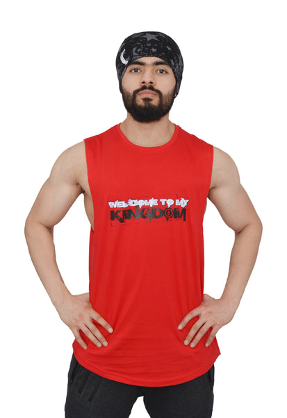 Ravishing Red Arckon Drop Armhole Welcome To My Kingdom Cutoff