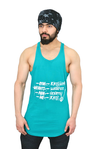 Caribbean Teal & White Spartan Quote Longline Arc Stringer