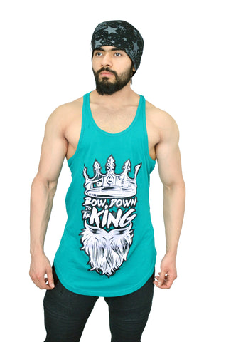 "Caribbean Teal & White ""Bow Down To The King"" Longline Arc Stringer"