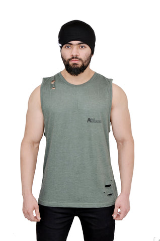 Military Green Oversized Cutoff (Distressed)