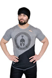 Grey & Black Dual V Drop T-Shirt (Distressed)