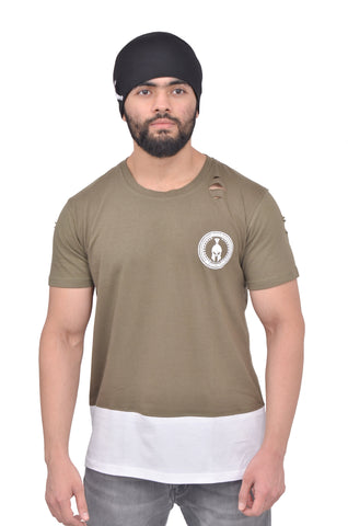 Olive Green Dual Drop T-Shirt (Distressed)
