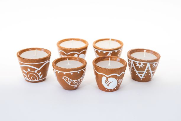 Terracotta Kerzen 6er Set