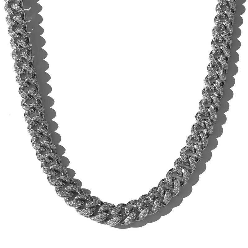 12mm Diamond Cuban Link Chain in White Gold