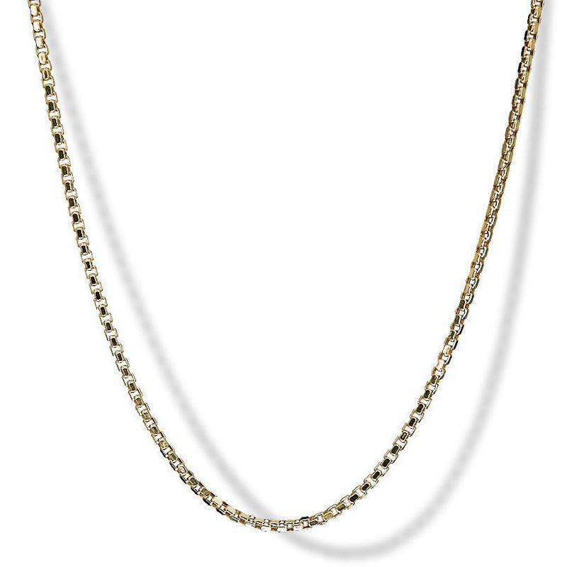 2.5mm 10k Yellow Gold Venetian Box Chain