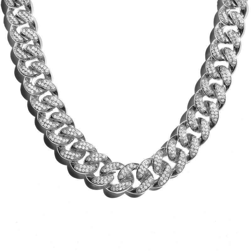 18mm Diamond Cuban Link Chain White Gold