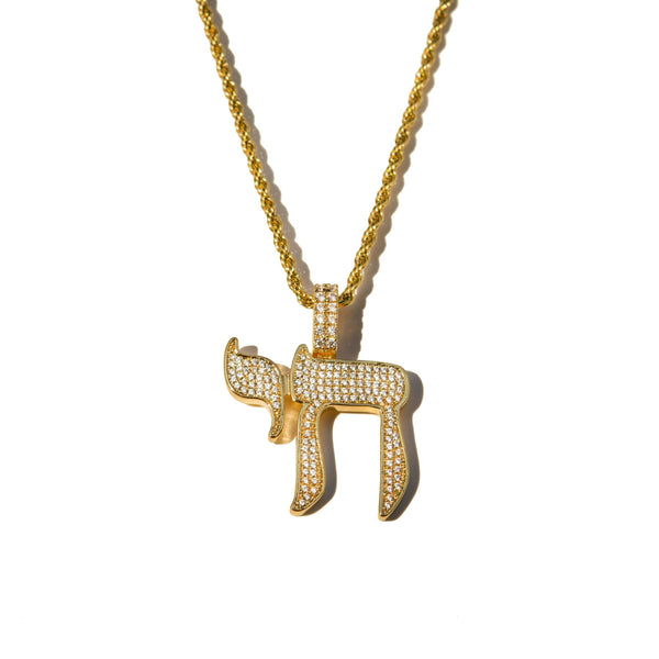 Diamond Chai Pendant Yellow Gold