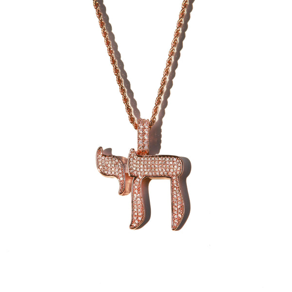 Diamond Chai Pendant Rose Gold