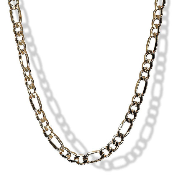 6.5mm 10k Yellow Gold Figaro Necklace