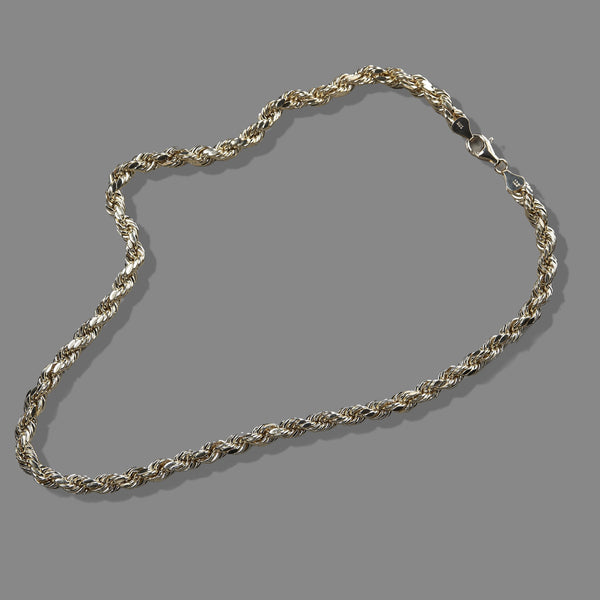 7mm 10k Yellow Gold Rope Necklace