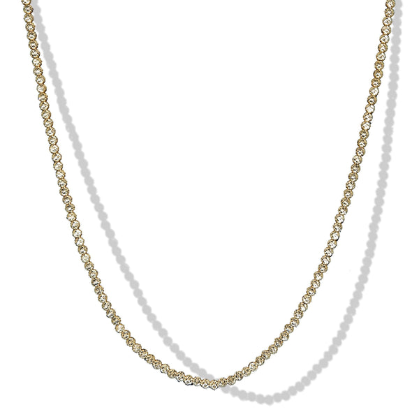 2.5mm 10k Yellow Gold Laser Cut Beaded Necklace