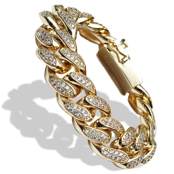 18mm Diamond Cuban Link Bracelet Yellow Gold