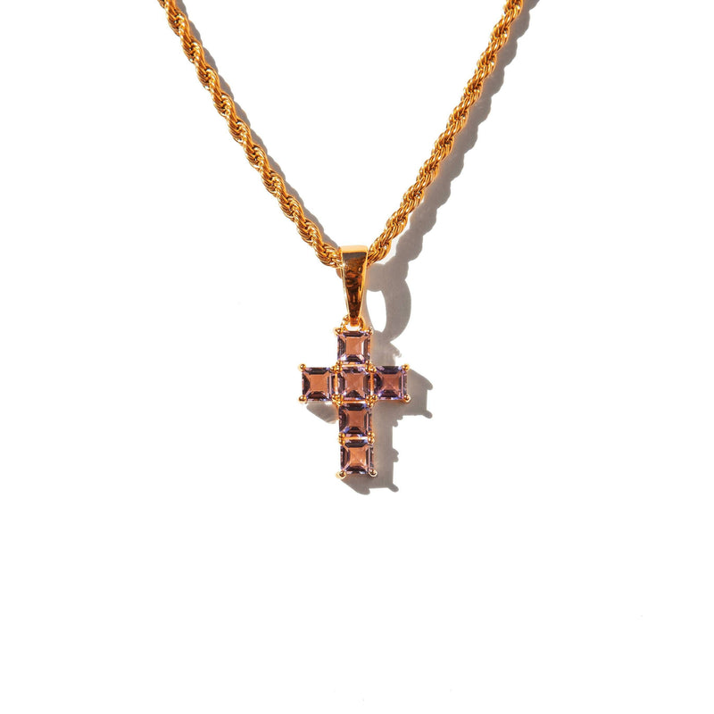 Micro Amethyst Cross Rose Gold
