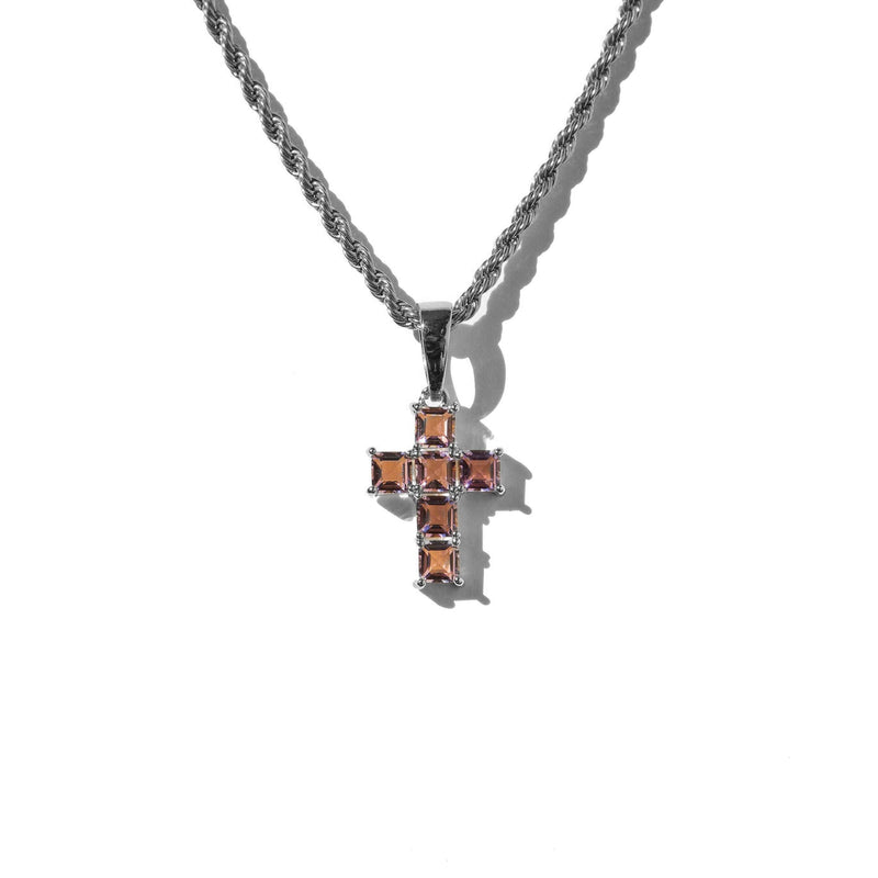Micro Amethyst Cross White Gold