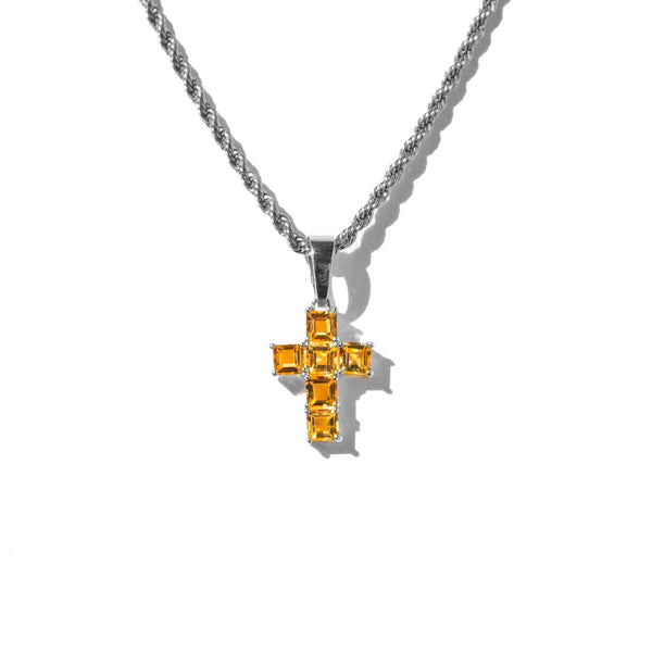 Micro Citrine Cross White Gold