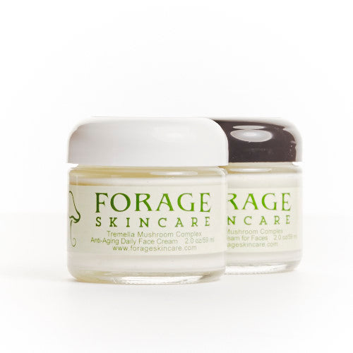 Two jars of Forage SkinCare Tremella Musrhoom Complex