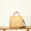 Wicker clear handbag