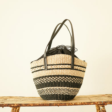 Patterned knitting tote bag