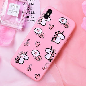 Unicorn Silicone Phone Case For iPhone 6, 6S 7   8  X XS MAX