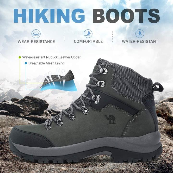 Men's Hiking Boots Full Grain Leather Non-Slip Mid Outdoor Backpacking Trekking Trails Boots CAMEL CROWN CAMEL OUTDOOR CAMELSPORTS