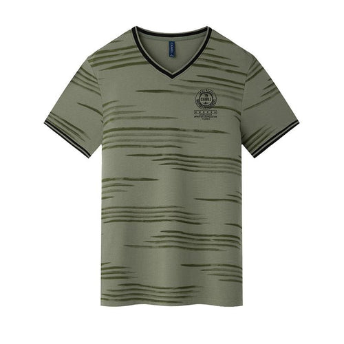 Men's Printing V-Shape Collar T-Shirt - CAMEL