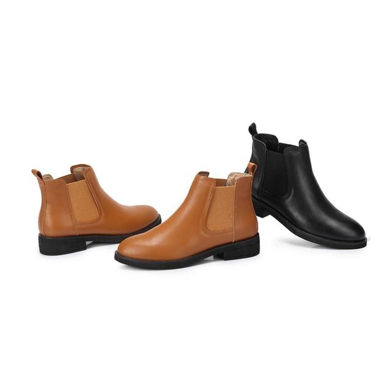 Women Cowhide Chelsea Boots - CAMEL CROWN