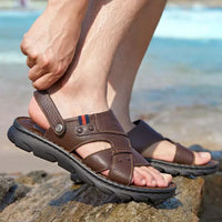 Men's Dual-Use Summer Leather Sandals - CAMEL