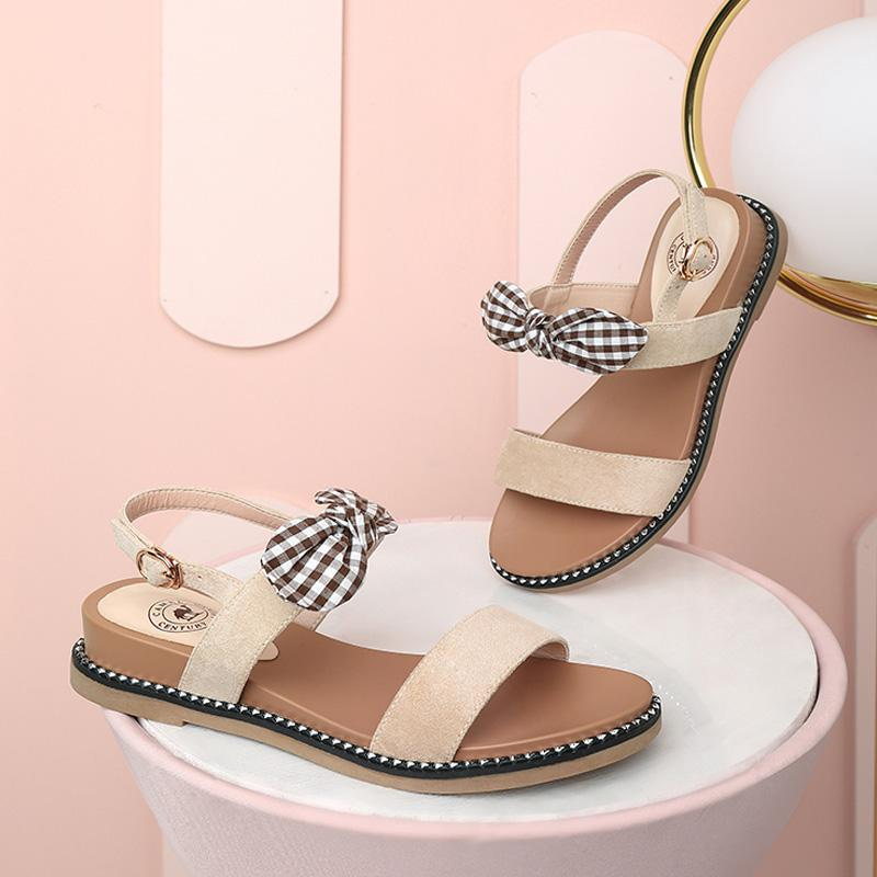 Women's Ankle-Strap Sandals With Bowknot - CAMEL