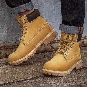 Men Leather High Top Work Boots - CAMEL