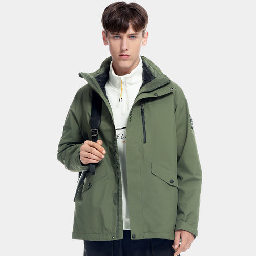 Men's Windproof Breathable 3-in-1 Down Interchange Jacket