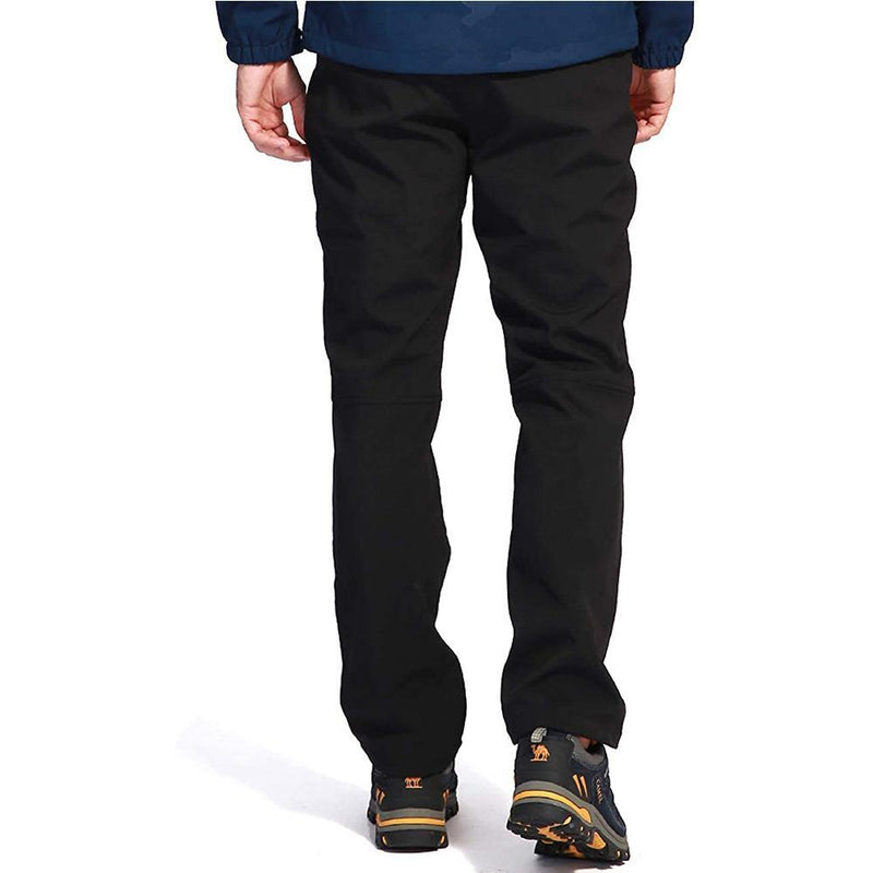 Men's Waterproof Hiking Pants Ski Fleece Lined Insulated Warm Soft Shell Pants - CAMEL