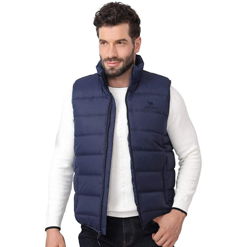 Men's Puffer Vest Quilted Winter Padded Sleeveless Jackets Gilet - CAMEL