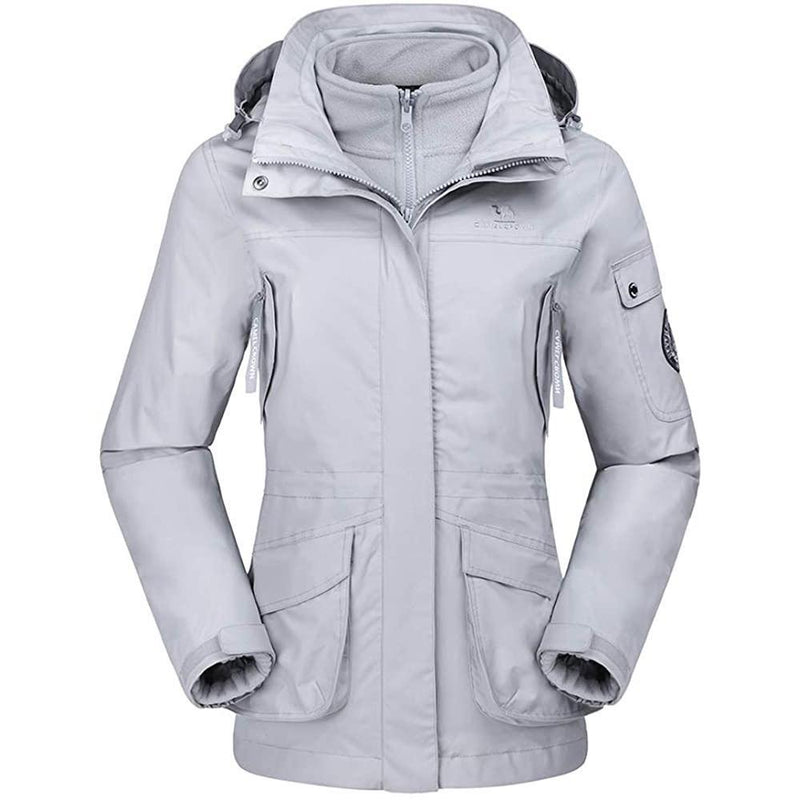 Womens Waterproof Ski Jacket 3-in-1 Windbreaker Coat Fleece Inner for Outdoor Hiking - CAMEL