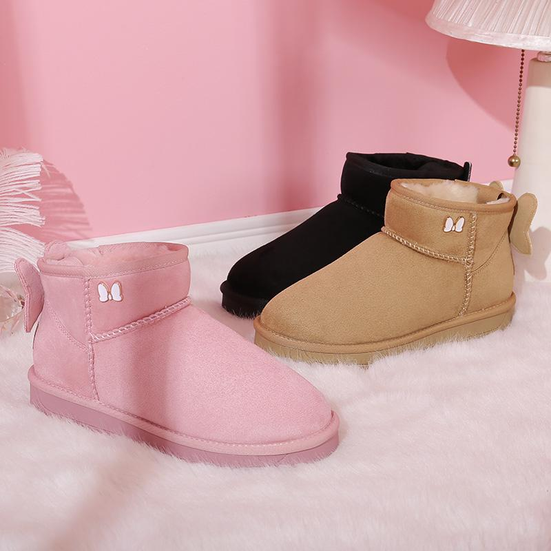 Women Bow Embellishment Snow Boots - CAMEL CROWN