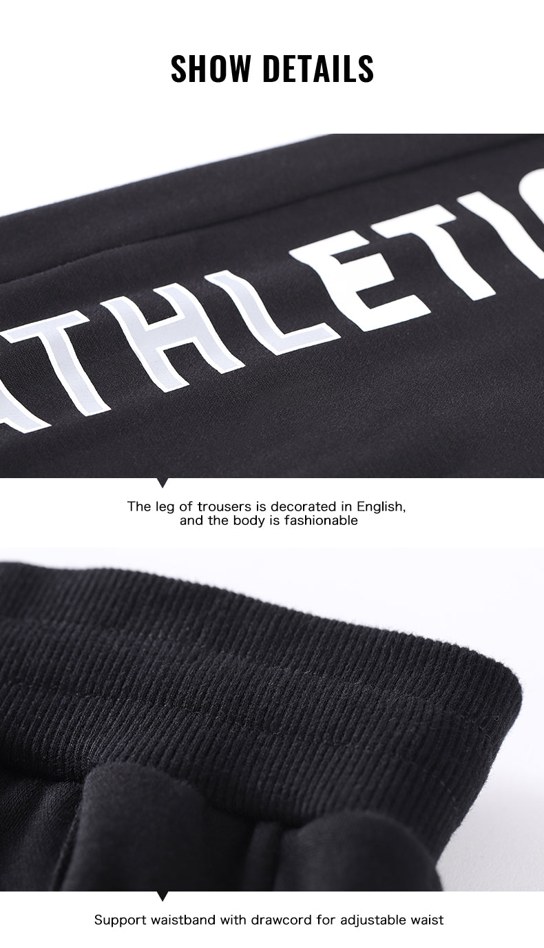 Men Sports Knit Pants Autumn Winter New Velvet Loose Breathable Trousers Fitness Beam Running Pants