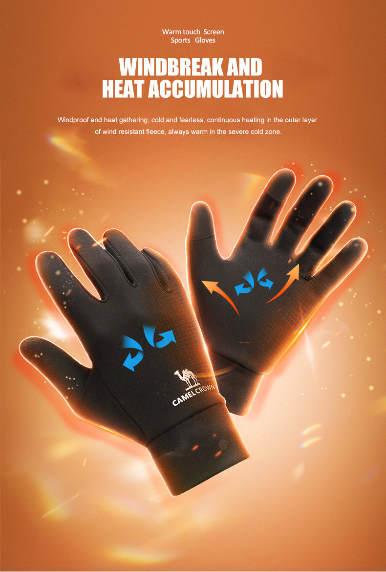 Winter Running Fitness Motor Sports Gloves for Men Women Plus Velvet Warm Bicycle Outdoor Trekking Elastic Touch Gloves
